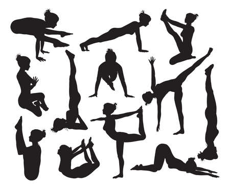 A set of highly detailed high quality yoga pose silhouettes