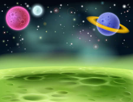 An illustration of an outer space cartoon background with colorful planets