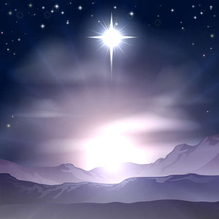 A Christian Christmas illustration of the Star of Bethlehem that the wise men followed over the dessert landscape. A Christmas Nativity landscape concept