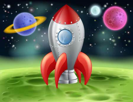 An illustration of a cartoon space rocket on an alien planet or moon
