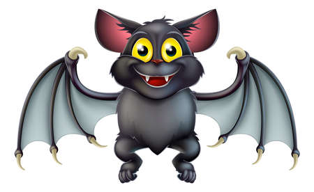 An illustration of a cute happy cartoon Halloween bat character