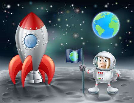 An illustration of a cartoon astronaut and vintage space rocket on the moon with the planet earth in the distance