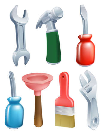Cartoon tool icons set of a variety of work tools including a spanner, hammer, plunger, screwdriver and paintbrush
