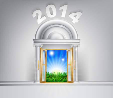 New Year 2014 door concept. A conceptual illustration for a happy verdant future of a door opening onto a field of lush green grass