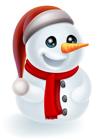 Illustration of a cartoon Christmas Snowman in a Santa Hat and red scarf