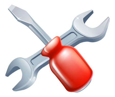 Crossed screwdriver and spanner tools icon of cartoon tools crossed, construction or DIY or service concept