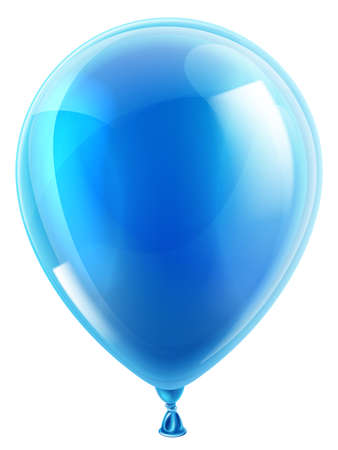 An illustration of an isolated blue birthday or party balloon