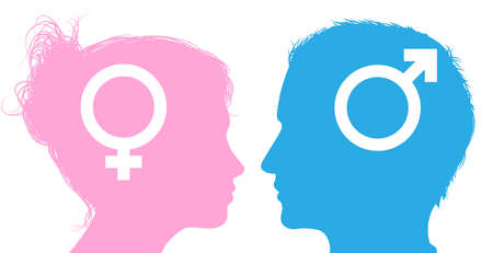 Silhouette man and woman heads with male and female sex symbol icons