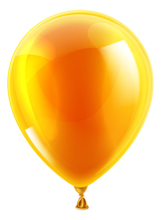 An illustration of an isolated orange birthday or party balloon