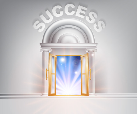 Success door concept of a fantastic white marble door with columns with light streaming through it.