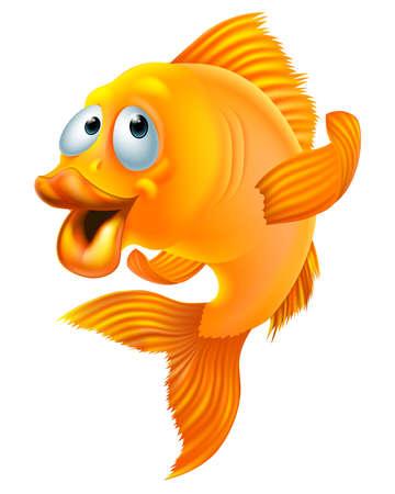 An illustration of a happy goldfish cartoon character waving