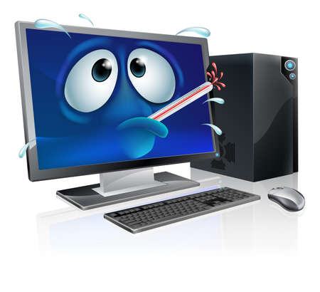 Broken cartoon desktop computer, cartoon of a poorly computer with a bursting thermometer in its mouth. Could be a broken computer or one that has a virus or other malware