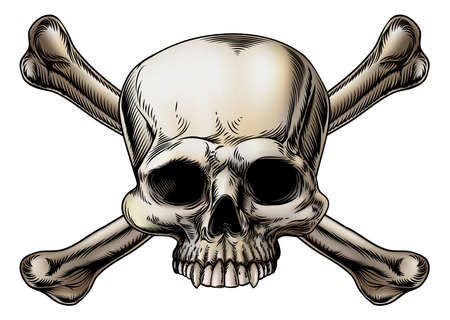 Skull and crossbones drawing with skull in the center of the crossed bones