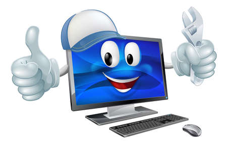 A cartoon computer repair mascot with a cap and spanner doing a thumbs up