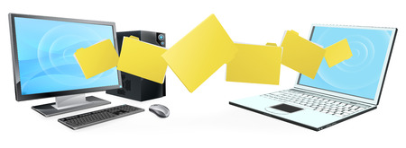 Computer phone file transfer concept of files or folders moving between a desktop computer and laptop