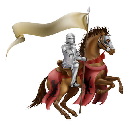 A medieval knight in armor riding on horseback on a brown horse holding a flag or banner