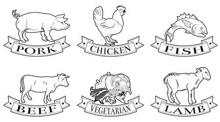 A set of food labels, icons or menu illustrations for beef chicken fish pork lamb and vegetarian options