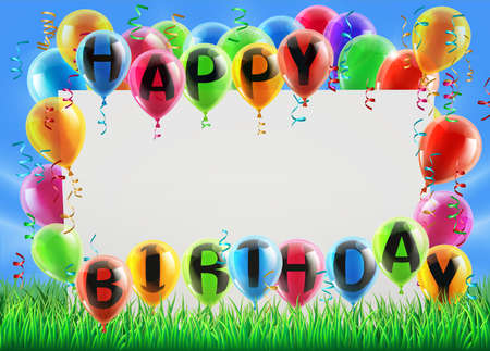 A sign in a field with balloons reading Happy Birthday. Great for a birthday party invite or similar