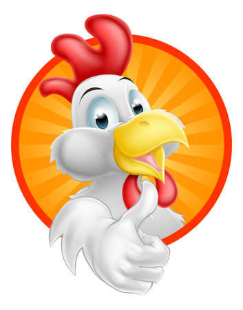 A happy funny Cartoon Rooster chicken giving a thumbs up