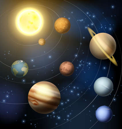 Planets of the solar system around the sun illustration