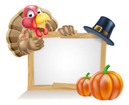 Sign with cartoon Thanksgiving turkey bird with a pilgrim or puritan thanksgiving hat and pumpkins