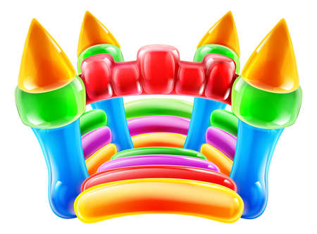 An illustration of a colourful inflatable children s party castle