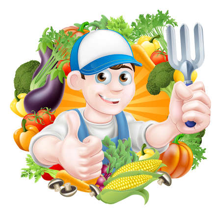 Illustration of a cartoon gardener holding a garden fork tool and giving a thumbs up surrounded by vegetablesのイラスト素材