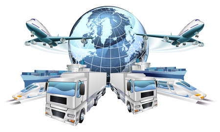 Logistics transport concept of planes, trucks, trains, and cargo ship coming out of a globe