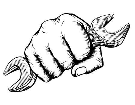 A vintage etched woodcut style hand holding a fork in a fist