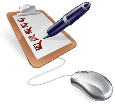 An illustration of a survey clip board or feedback form and computer mouse concept