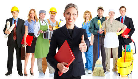 Group of workers people. Business team. Isolated over white background.
