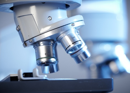 Laboratory Microscope. Scientific and healthcare research background.