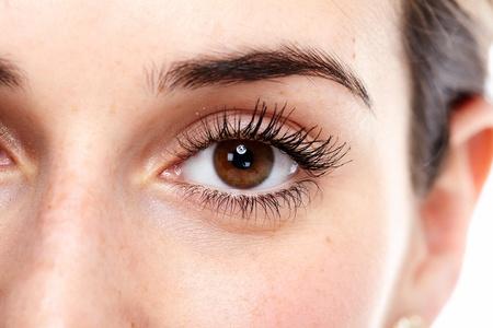 Beautiful eye close up  Isolated on white background