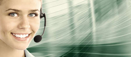Beautiful  business woman with headset  Call center  Customer support  Helpdesk
