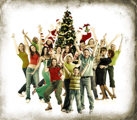 Christmas Tree and happy people. Over grey vintage background.