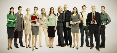 Group of business people. Business team. over grey background