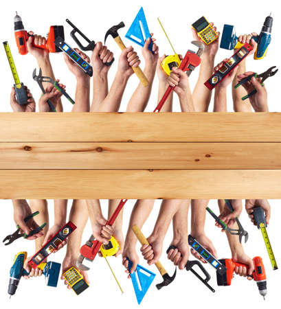 DIY tools set collage. Isolated on white background.