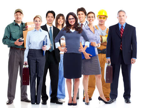 Group of employee people  Business team isolated on white background