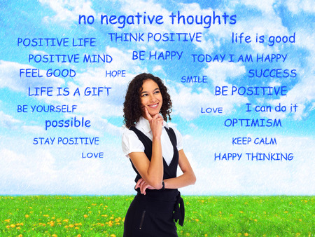 Positive thinking girl over abstract background.