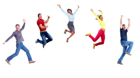 Group of happy jumping people.