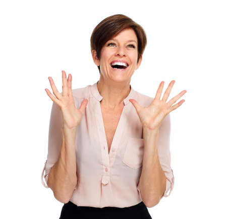 Happy excited business woman portrait isolated over white background.