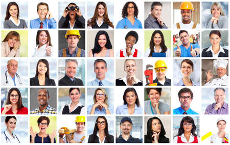 Business people workers faces collage background. Teamwork concept.