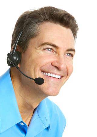 Smiling customer service operator. Over white background