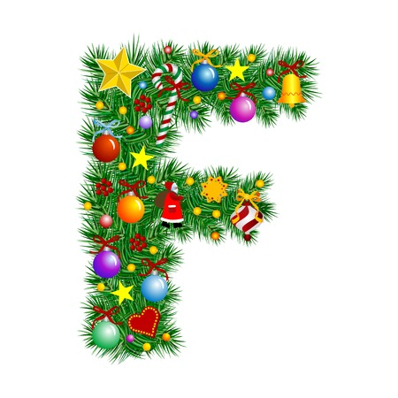 Letter F - Christmas tree decoration - Alphabet