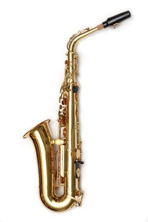 Saxophone isolated over white