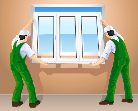 two workers editing new plastic window vector illustration