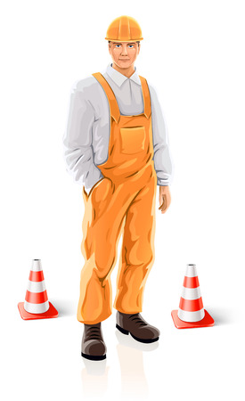 road builder man character isolated - vector illustration