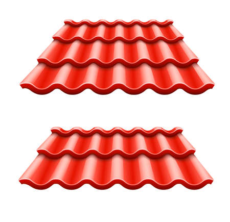 Red corrugated tile element of roof.  Isolated on white background