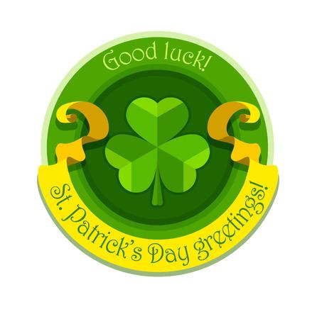 Shamrock symbol for saint patricks day with ribbon. Eps10 vector illustration