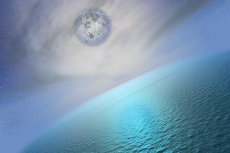 The Full Moon upper the sea.